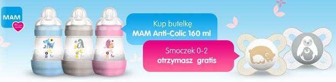 Do każdej butelki MAM Anti-Colic 160ml smoczek gratis!